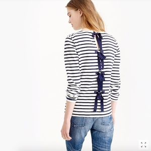 NWT J.Crew Striped T-shirt with Bow Back
